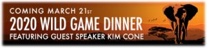 Button for the Wild Game Dinner 2020 which will lead to the display page for the brochure.