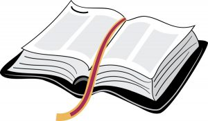 Graphic of an open Bible.